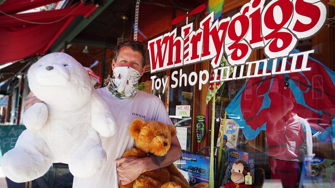 """Geoffrey Pendexter, owner of Whirlygigs in downtown Exeter, is continuing his """"Bears that Care"""" drive by donating 300 teddy bears to Exeter Hospital's emergency department that will be given to children who come in as patients."""