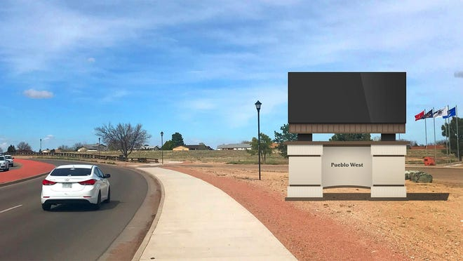 This rendering from Street Media shows how the advertising sign will look at the McCulloch Boulevard location near the Golden Guardian Park. Board members voted to have the sign placed as far north as possible so as to not obstruct the view of the veterans memorial.