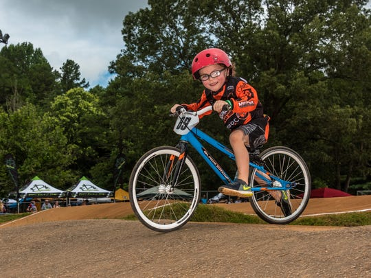 Garrett Edwards, age 5, has grown up around BMX action.