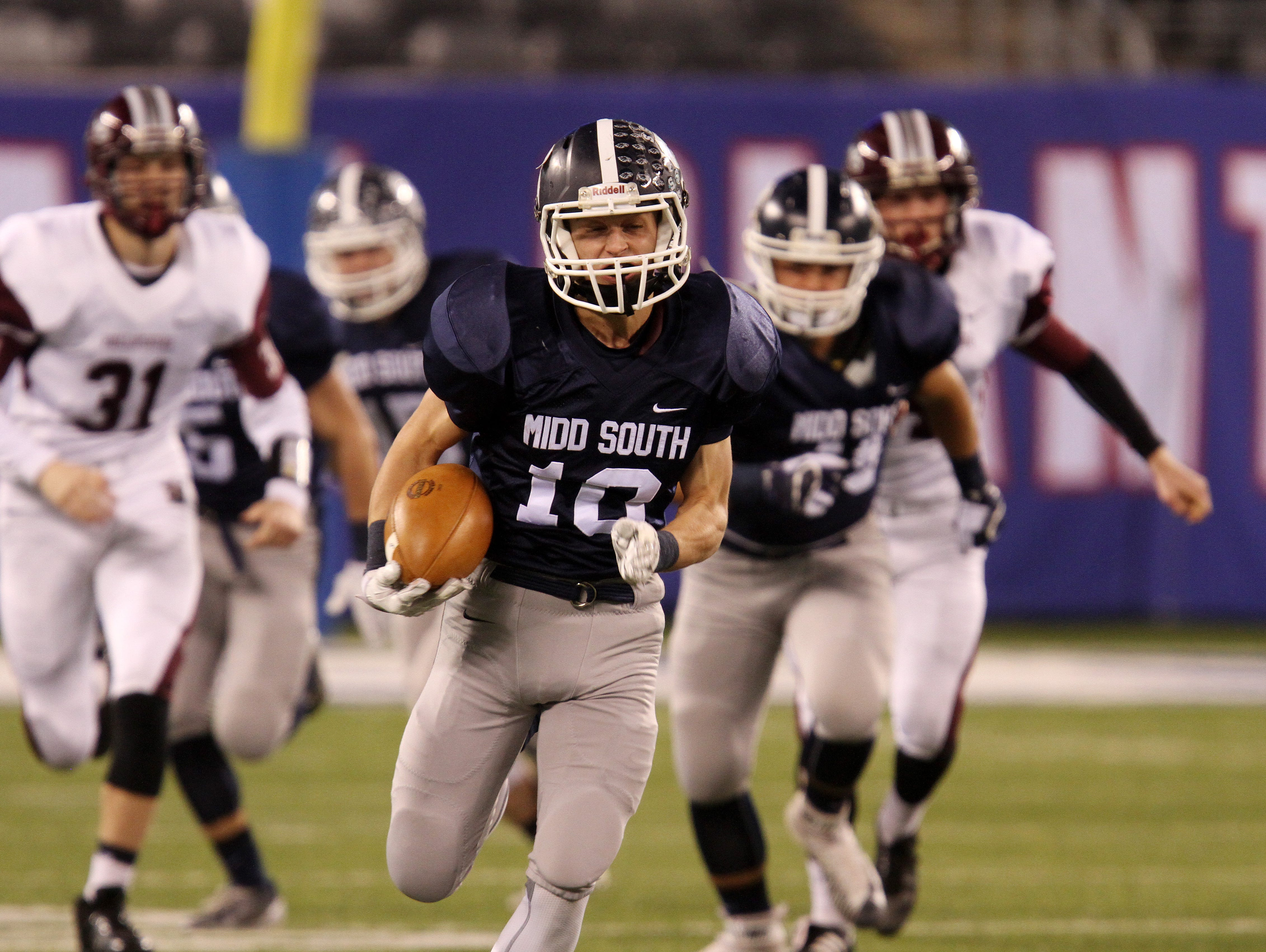 Middletown South's #10 Jeff Lewandowski makes a run early in the first quarter against Phillipsburg High School during the North 2 Group IV game of the 2015 NJSIAA/MetLife Stadium High School Football Championships at MetLife Stadium in East Rutherford, NJ Saturday December 5, 2015.