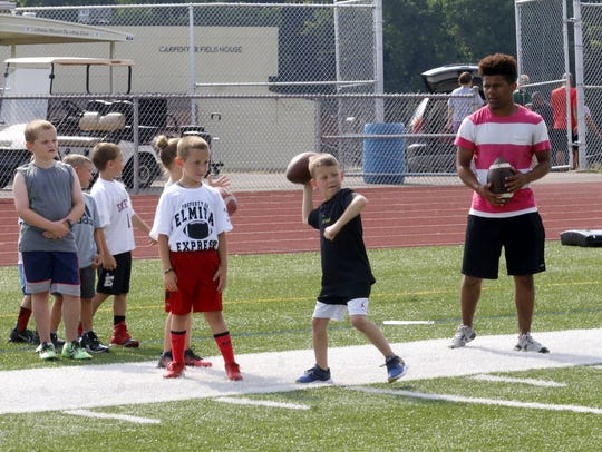 Campers practice passing the ball as Express player