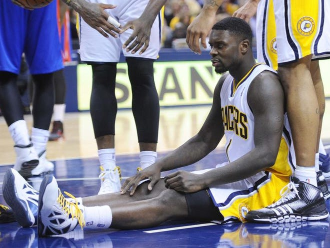 Lance Stephenson ends up on the floor Dec. 16 after being fouled in the fourth quarter against Detroit at Bankers Life Fieldhouse.