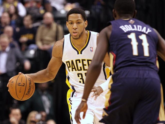 Indiana Pacers' Danny Granger moves the ball up the court against the New Orleans Pelicans at Bankers Life Fieldhouse Saturday January 4, 2013.