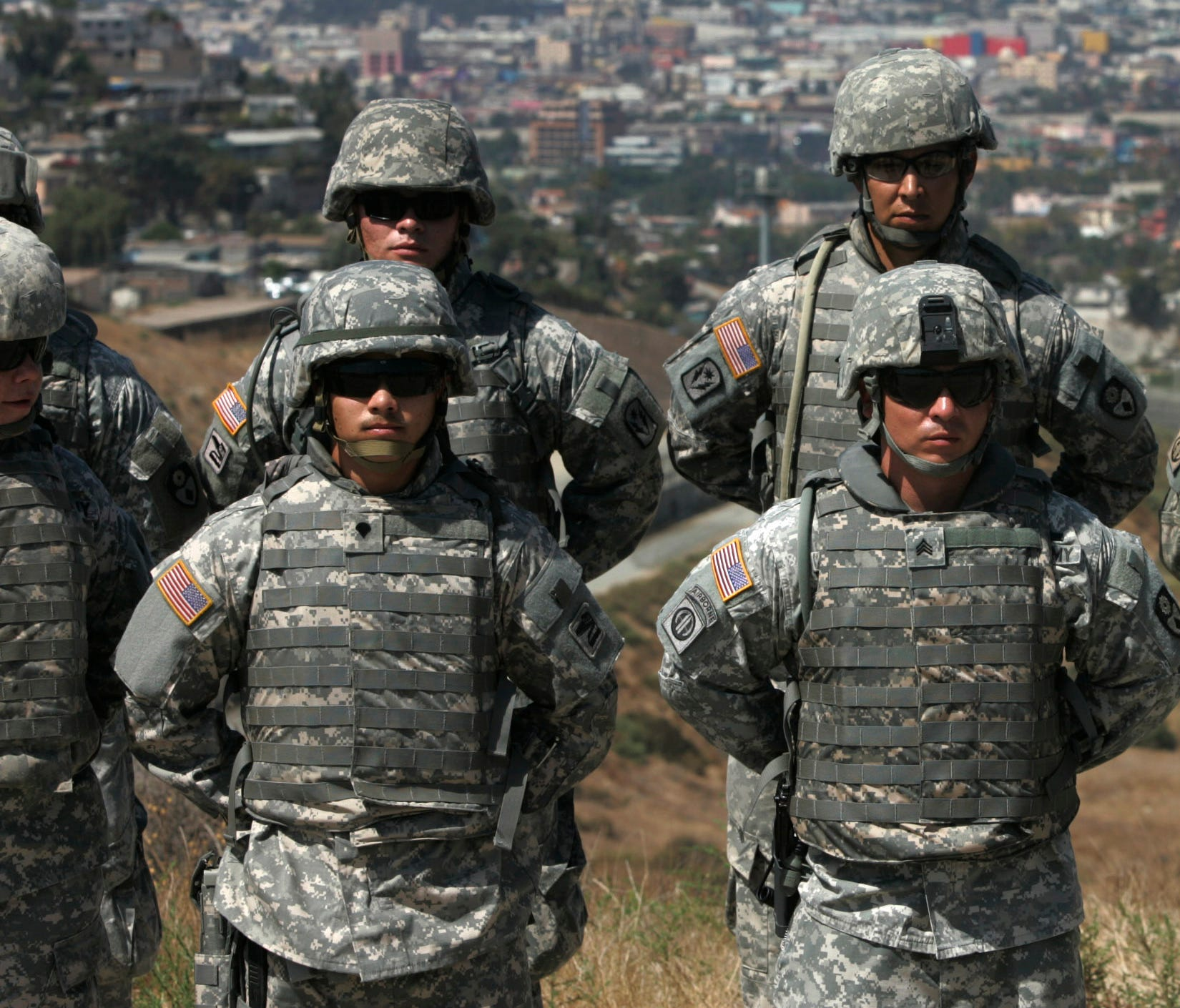 California National Guard troops stand in formation near the California-Mexico border on Aug. 18, 2010 in San Diego.