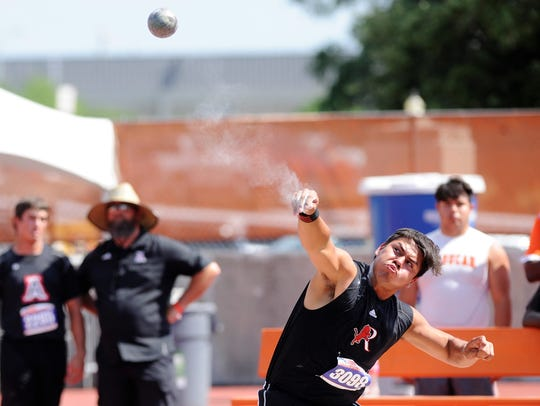 Roby's Jessy Villagomez lets his throw go during the Class 1A boys shot put at the UIL State Track and Field Championships at the University of Texas' Mike A. Myers Stadium in Austin on Friday. Villagomez finished second with a throw of 50 feet, 7 inches.