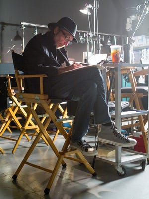 Frank Miller on the set of 'Sin City: A Dame to Kill For,' the second film based on Miller's influential 'Sin City' series.
