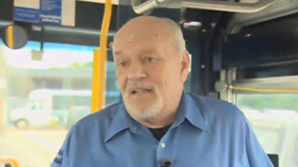On Thursday, bus driver Bill Clark looked at the surveillance video from his bus for the first time. It has everyone calling him a hero.