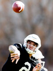 Tennessee quarterback Jarrett Guarantano (2) throws a pass during Tennessee Volunteers spring training at Anderson Training Facility in Knoxville, Tennessee on Thursday, April 5, 2018.