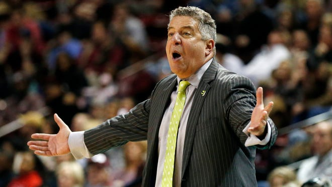 Auburn head coach Bruce Pearl pleads with his players to defend Mississippi State players during the second half of an NCAA college basketball game in Starkville, Miss., Saturday, Jan. 13, 2018. Auburn won 76-68.