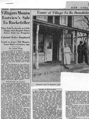 Newspaper clip from the New York Herald Tribune in