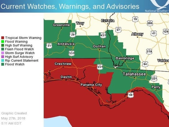 The latest watches and warning for Subtropical Storm
