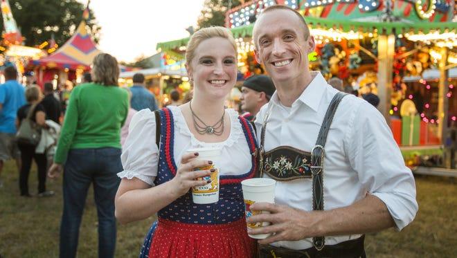 Amanda Pritz of Redding, Pennsylvania and Joe Ruff of Wilmington at Delaware Saengerbund 's Oktoberfest near Newark in 2013.