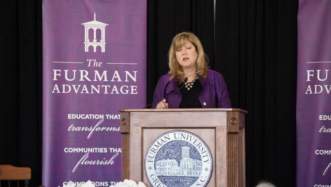 Furman University President Elizabeth Davis speaks at the announcement of The Furman Advantage on Wednesday, Oct. 6, 2016.