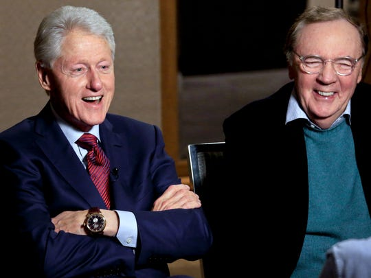 "In this May 21, 2018 photo, former President Bill Clinton, left, and author James Patterson speak during an interview about their new novel, ""The President is Missing,"" in New York."