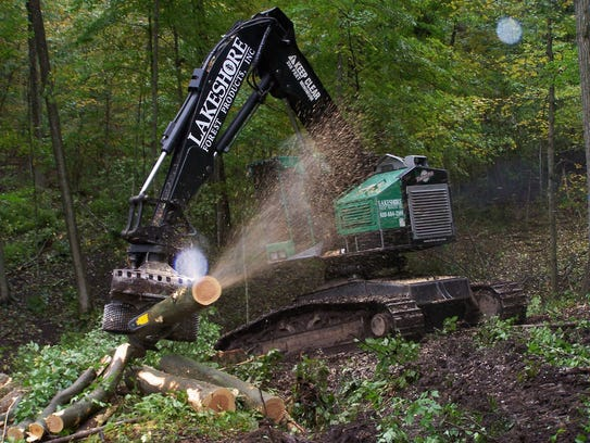 A Lakeshore Forest Products timber harvester with a