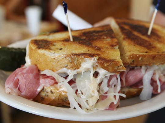 A corned beef sandwich from Larry's Lunch Box. The