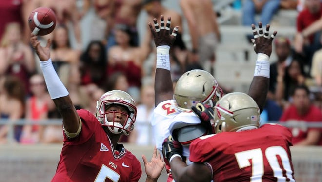 Florida State Seminoles quarterback Jameis Winston fires a pass during the spring game on April 12.