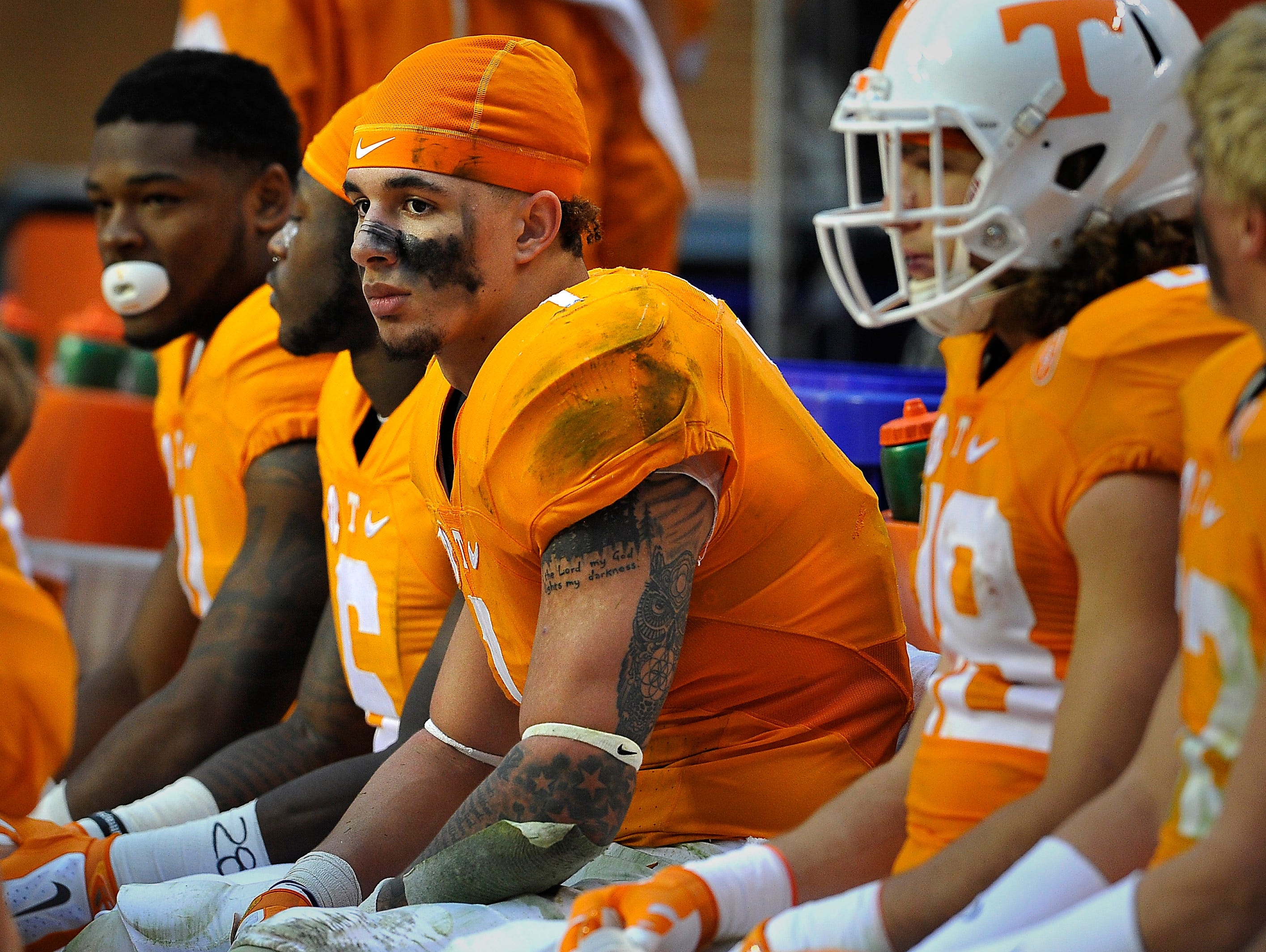 Tennessee running back Jalen Hurd (1) gets a break on the sidelines during the South Carolina game.