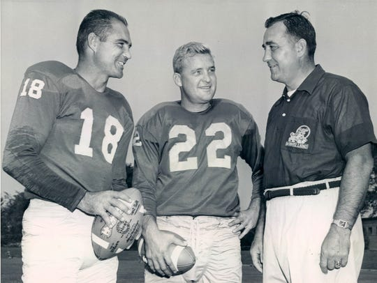 Detroit Lions football players Tobin Rote, Bobby Layne