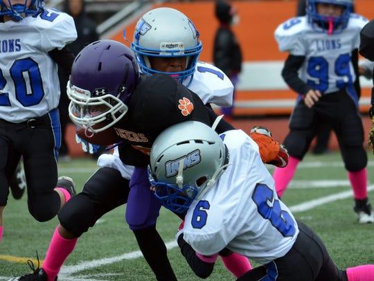 Aaron Jones (13) and Micah Williams (6) of the Lions