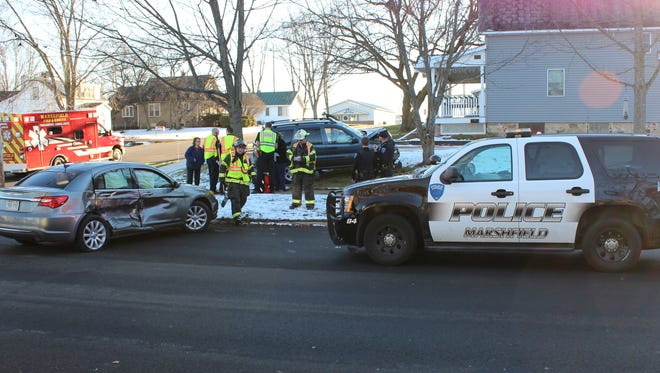 Marshfield emergency crews responded to a two-car accident at the corner of East Blodgett Street and North Ash Avenue on Dec. 4, 2015.