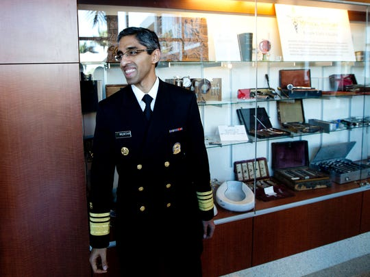 Dr. Vivek Murthy, who was sworn in as U.S. Surgeon General in December,prepares to talk with the media after visiting with Southwest Florida community leaders Friday morning during a closed-door session at Gulf Coast Medical Center in south Fort Myers. He talked local health issues, measles and medical marijuana.