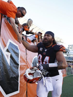 Bengals defensive tackle Domata Peko celebrates with fans after their 27-24 win over the Baltimore Ravens.