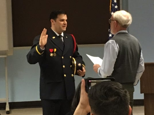 Dan Crow on Tuesday was promoted to lieutenant at the Mansfield Fire Department.JPG