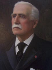 Gov. Urban Woodbury seen in his Statehouse portrait, which is part of the state curator's collection of paintings. Woodbury, upon leaving office in 1896, deposited a bound book of transfer copies of outgoing correspondence.