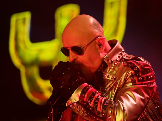 Judas Priest lead singer Rob Halford performs at the Resch Center on Thursday, April 5, 2018 in Ashwaubenon, Wis.