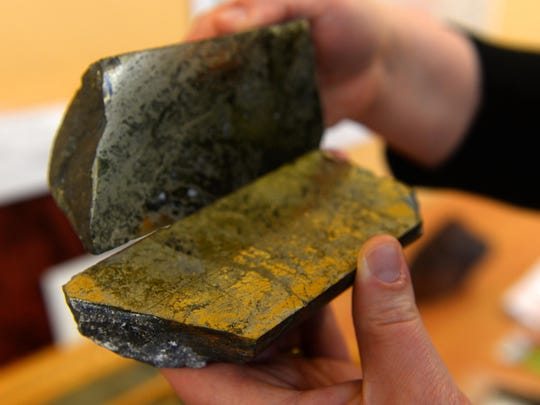 A Tintina core sample with high copper content from the Johnny Lee copper deposit north of White Sulphur Springs.