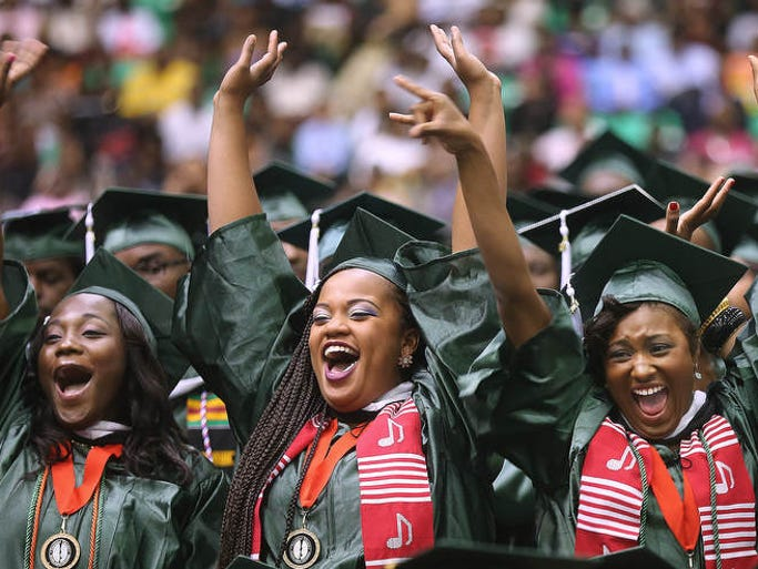 A trio of new FAMU graduates whoop it up during Saturday's second ceremony at FAMU. Florida A&M held two graduations inside of the Alfred Lawson Multipurpose Center on May 3, 2014. During the second ceremony, Mikki Taylor of Essence Magazine, was the guest speaker. The ceremonies were new President Elmira Mangum's first as FAMU's leader.