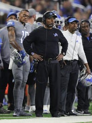 Lions coach Jim Caldwell on the sidelines during the