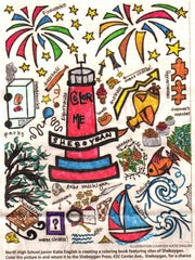 "Arlene Cassabaum, 73, was the adult winner for the Sheboygan Press coloring contest using a page from ""Color Me Sheboygan."""