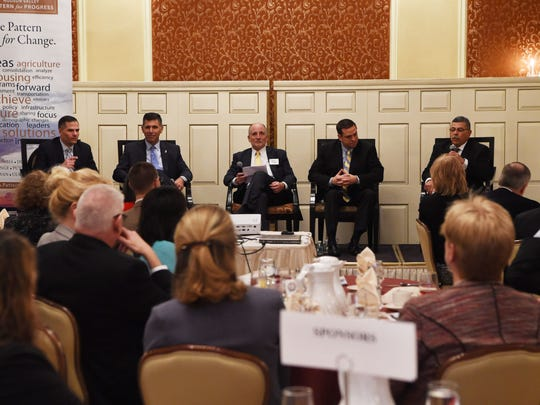 A view of the panel at Hudson Valley Pattern for Progress' County Leaders Breakfast at the Poughkeepsie Grand Hotel. From left to right: Dutchess County Executive Marc Molinaro, Ulster County Executive Mike Hein, Jonathan Drapkin, president and CEO of Hudson Valley Pattern for Progress, Orange County Executive Steven Neuhaus, and Sullivan County Legislative Chair Luis Alvarez.