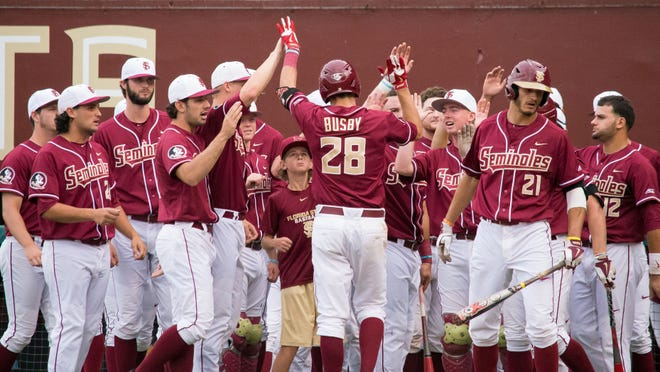 Dylan Busby (28) and The Florida State Seminoles lost an early lead to the Clemson Tigers, which cost them the game with a score of 4-1 at Mike Martin Field in Tallahassee, FL on Thurs., May 14.