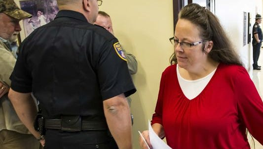 Rowan County Clerk Kim Davis returned to work in Morehead, Ky., on Sept. 14, 2015, after a stint in jail on a contempt of court charge.