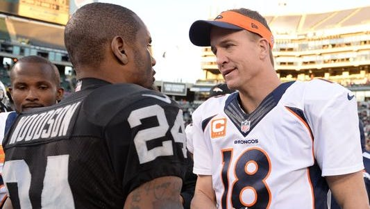 Peyton Manning (right) and Charles Woodson continue to have success in the NFL nearly two decades after breaking into the league.