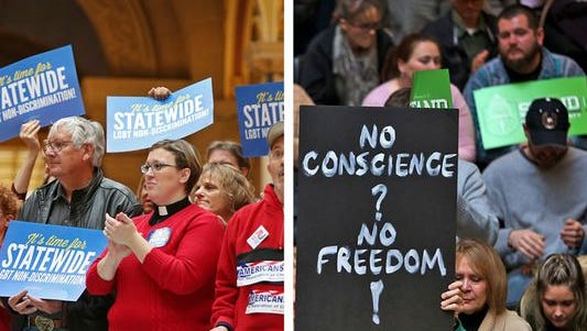 Supporters of expanding civil rights protections for LGBT Hoosiers (at left) and those who instead promote religious freedom are shown. The 2016 Indiana General Assembly considered several bills that would attempt to address both concerns.