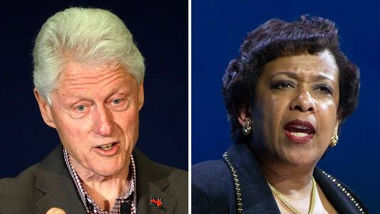 Attorney General Loretta Lynch crossed paths with former President Bill Clinton at Sky Harbor during her visit to the Arizona Law Enforcement Academy in Phoenix on June 28, 2016.