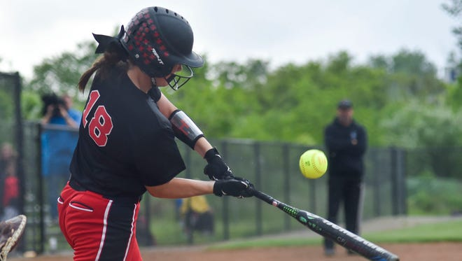 Cardington's Makenna McClure gets hold of a pitch during Cardington's regional semifinal game against Coldwater. The Pirates played for a Division III regional championship against Eastwood Saturday afternoon at Findlay and won 4-0.