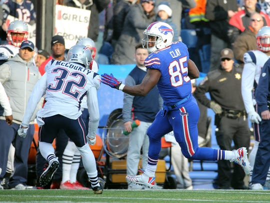 Bills tight end Charles Clay had three receptions for 20 yards against the Patriots.