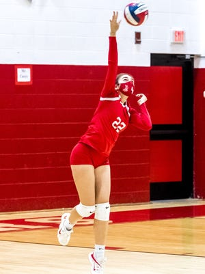 Hannah Pereira takes the serve for New Bedford.