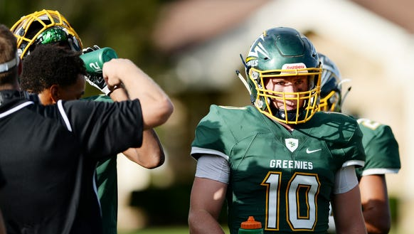 Christ School linebacker Seth Griswold (10) was the