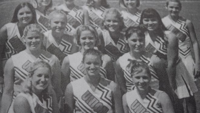 The UCHS cheer team in August 2000 was, front row, Rachel Logan (captain), Sarah Meighen (captain), and Courtney Wilson (co-captain). Second row, Katie Shirel, Kelsey Roberts, Candy Hedgepath (co-captain). Third row, Brandy Rednour, Laura Kirchner, Dru Greenwell, and Lacey Duncan. Back row, Lindsey Pogue, Brandee Backus, Alison Pride, Jessica Reynolds, and Rachelle Hagen.