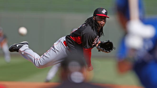 Johnny Cueto made the start for the Reds at Tempe Diablo Stadium.