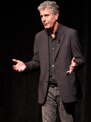 Anthony Bourdain spoke at Ruby Diamond Auditorium in
