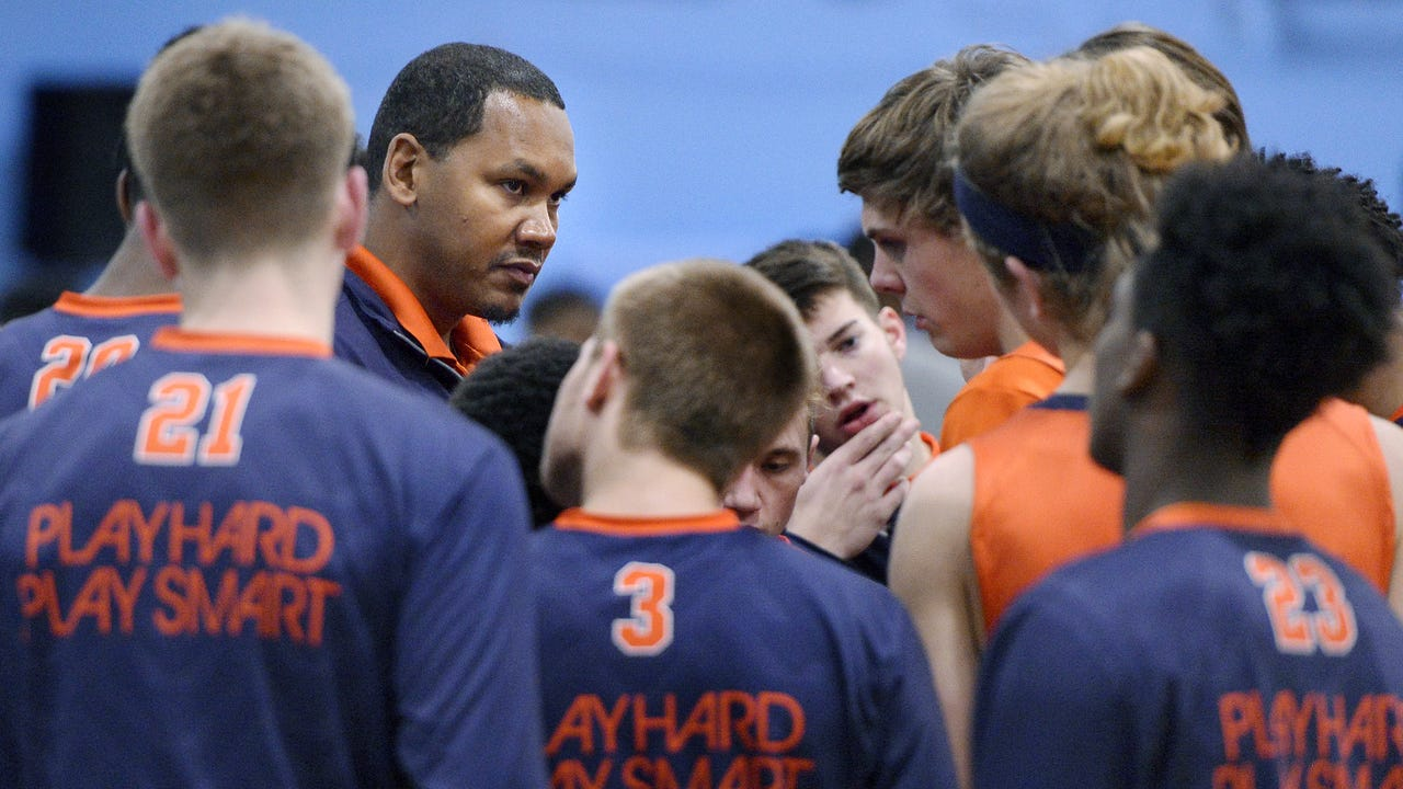 The former Syracuse and Pittsford Sutherland star is in his second season as Liverpool High School's boys varsity coach.  (January 2017)
