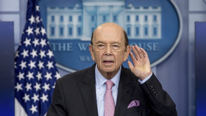 Commerce Secretary Wilbur Ross takes a question as he speaks to the media about a new tariff on Canadian lumber during the daily press briefing at the White House in Washington, Tuesday, April 25, 2017.