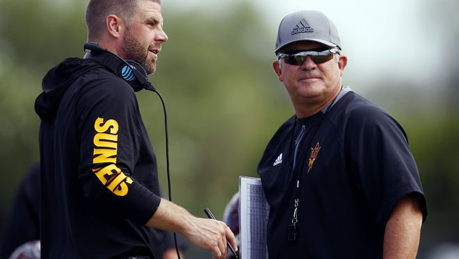 Head coach Todd Graham (right) and offensive coordinator Billy Napier (left) talk during practice earlier this month. The season will hinge on offensive production and Graham's ability to address the defense.